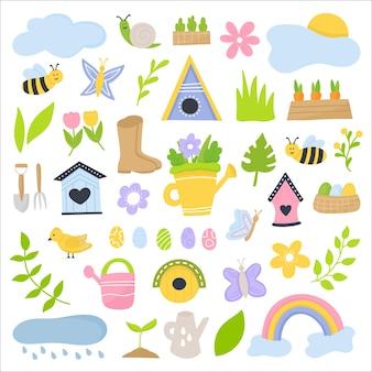 Ensemble de printemps fleurs d'éléments dessinés à la main, nichoirs, oiseaux, insectes, œufs, arc-en-ciel. vecteur de prime
