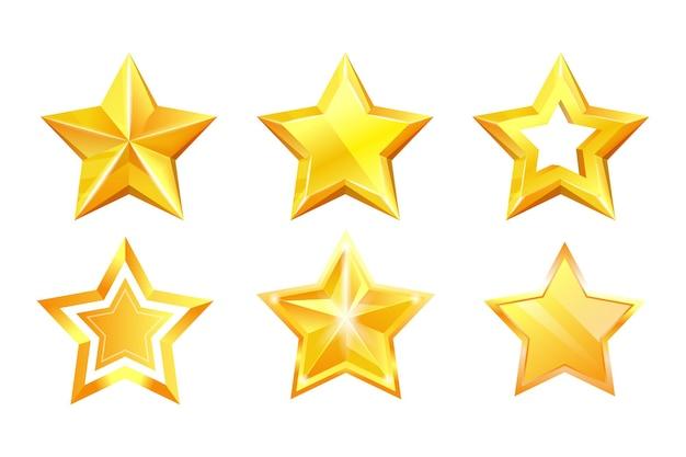 Ensemble de prix brillant de médaille de succès brillant de récompense d'étoile d'or. sparkle excellent point cinq étoiles en forme de récompense dorée métallique ou illustration vectorielle de décoration de noël isolée sur fond blanc