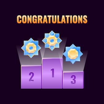 Ensemble de prix de classement de l'interface utilisateur de jeu fantastique avec médailles de rang arrondies dorées