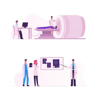 Ensemble de procédures de numérisation irm. les médecins examinent les résultats de l'analyse corporelle du patient sur l'écran du moniteur. illustration plate de dessin animé