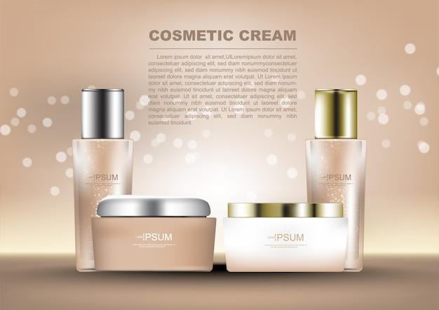 Ensemble de produit cosmétique soins de la peau sur fond de lumière radiante
