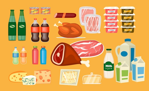 Ensemble de produits alimentaires quotidiens dans le style plat