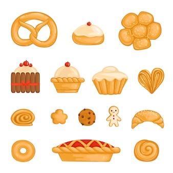Un ensemble de produits de boulangerie bagel, pain, gâteau, petit gâteau, rouleau, biscuit, cookie aux pépites de chocolat, bonhomme en pain d'épice, kurasan, beignet, tarte au fromage isolé