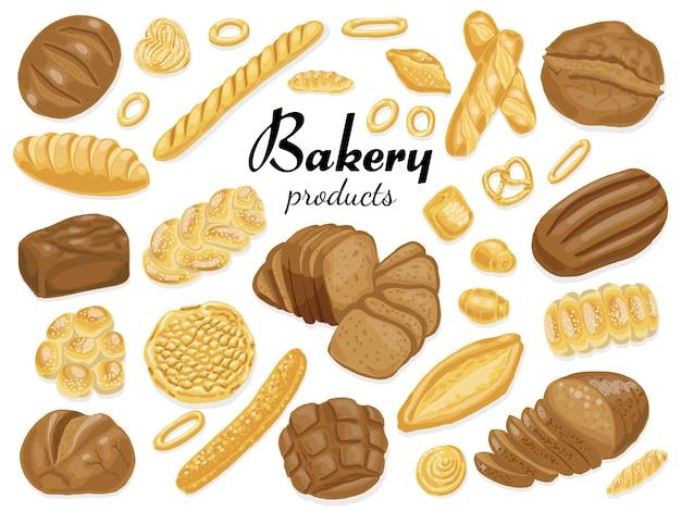 Ensemble de produits de boulangerie colorés isolés