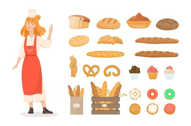 Ensemble de produits de boulangerie frais. pain et biscuits