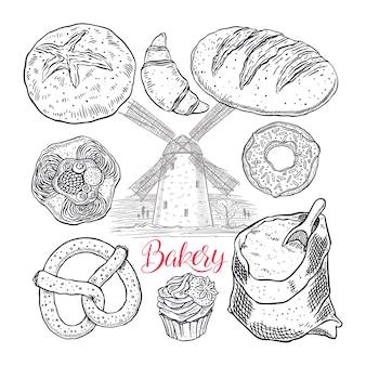 Ensemble de produits de boulangerie isolé sur blanc