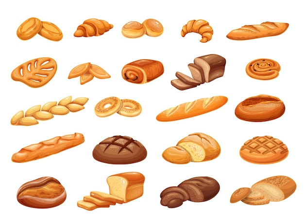 Ensemble de produits de boulangerie pain français, illustration vectorielle colorée. cuire le petit pain, la pâtisserie et les tranches de pain. tabatiere, baguette épi, bagel, pain au levain, petits pains et ets.