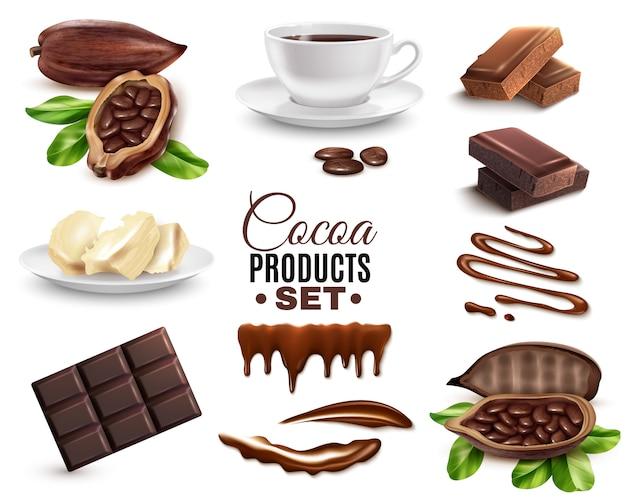 Ensemble de produits de cacao réalistes
