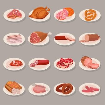 Ensemble de produits carnés sur une assiette. poulet rôti et côte de bœuf, saucisse, salami et jambon