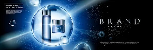 Ensemble de produits cosmétiques annonces avec des contenants bleus dans des bulles sur fond lumineux