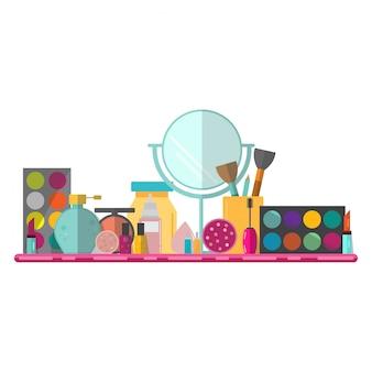 Ensemble de produits cosmétiques et maquillage au design plat.