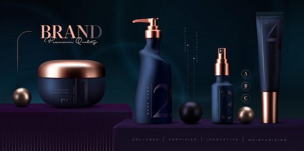 Ensemble de produits cosmétiques. pot de crème premium pour les produits de soins de la peau. crème pour le visage de luxe. annonces cosmétiques élégantes
