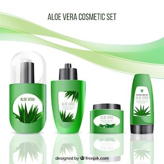 Ensemble de produits cosmétiques réalistes en aloe vera