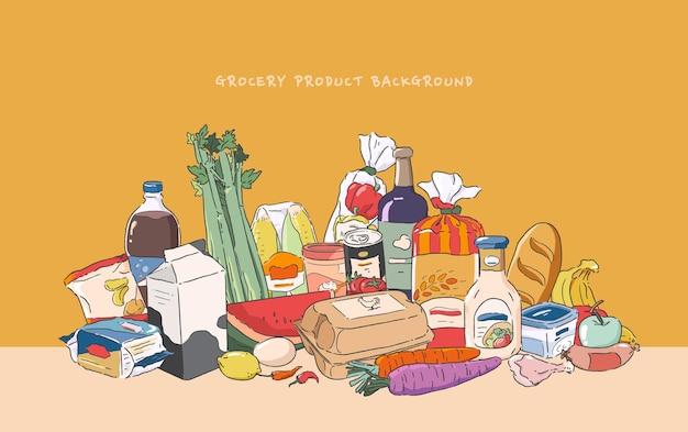 Ensemble de produits d'épicerie. illustration de conception plate.