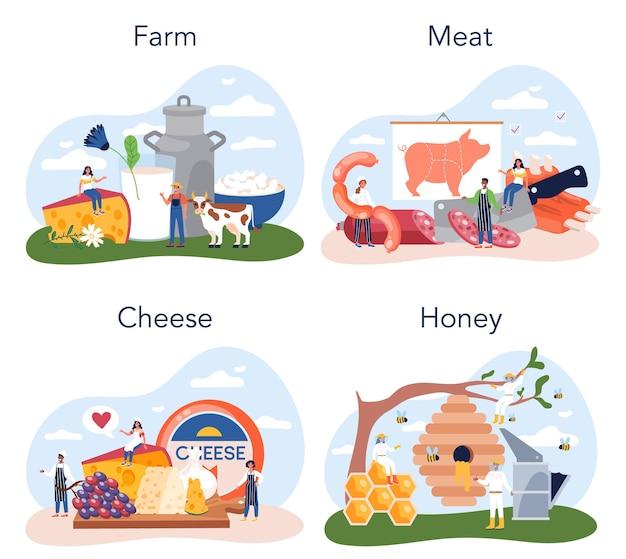 Ensemble de produits de la ferme. production vivrière agricole. epicerie villageoise. agriculture