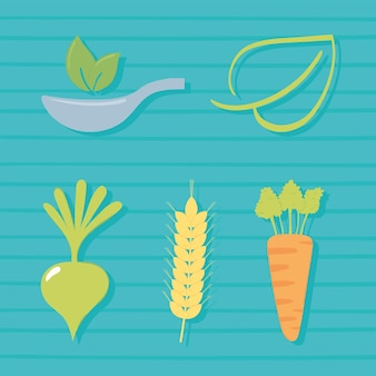 Ensemble de produits frais alimentaires