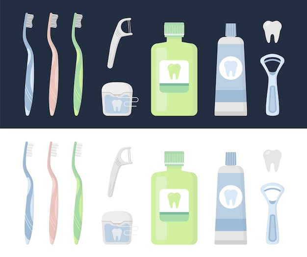 Ensemble de produits d'hygiène bucco-dentaire et d'outils de nettoyage dentaire
