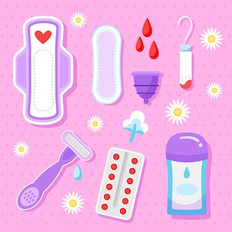 Ensemble de produits d'hygiène féminine