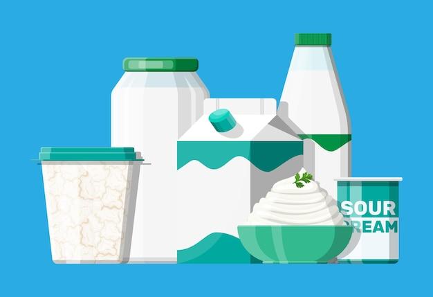 Ensemble de produits de lait aigre isolé sur bleu