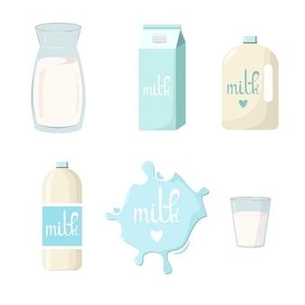 Un ensemble de produits laitiers sur fond blanc