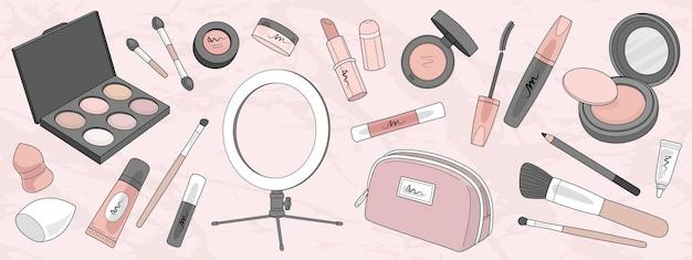 Ensemble de produits de maquillage et pinceaux