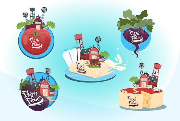 Ensemble de produits naturels logo eco fresh farm