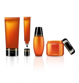 Ensemble de produits pour les soins de la peau de la collection orange sur blanc