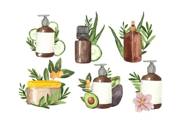 Ensemble de produits de soins de la peau de beauté cosmétiques à l'aquarelle