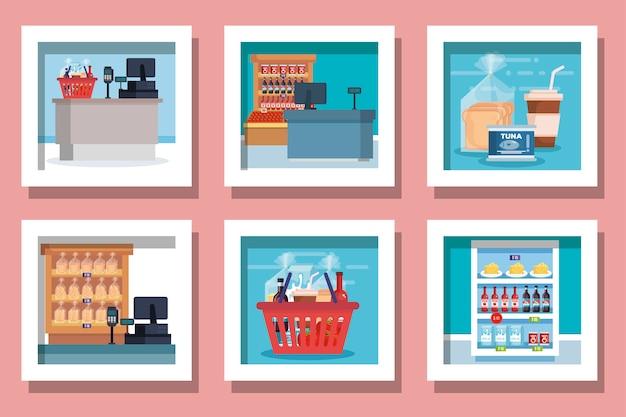 Ensemble de produits de supermarchés de conceptions
