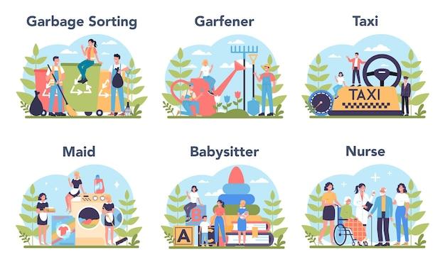 Ensemble de profession et de service social. concierge, jardinier et taxi. femme de ménage, baby-sitter et infirmière.
