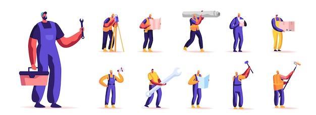 Ensemble de profession de travailleurs de personnes. personnages masculins en salopette de travail tenant différents instruments et équipements pour les travaux de construction isolés sur fond blanc. illustration vectorielle de dessin animé