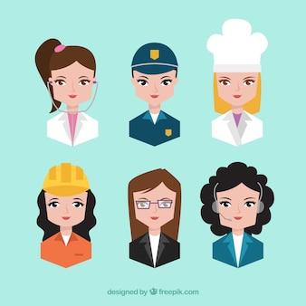 Ensemble professionnel d'avatars féminins
