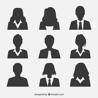 Ensemble professionnel d'avatars de silhouette