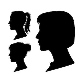 Ensemble de profils de femmes isolés sur fond blanc.