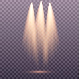 Ensemble de projecteur doré scène de lumière chaude jaune sur fond transparent éclairage de scène