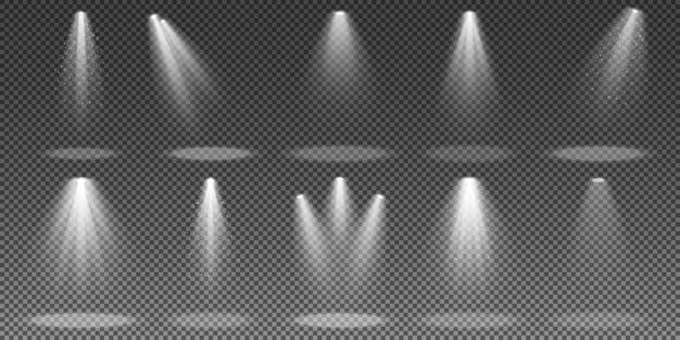 Ensemble de projecteurs isolés sur fond transparent.