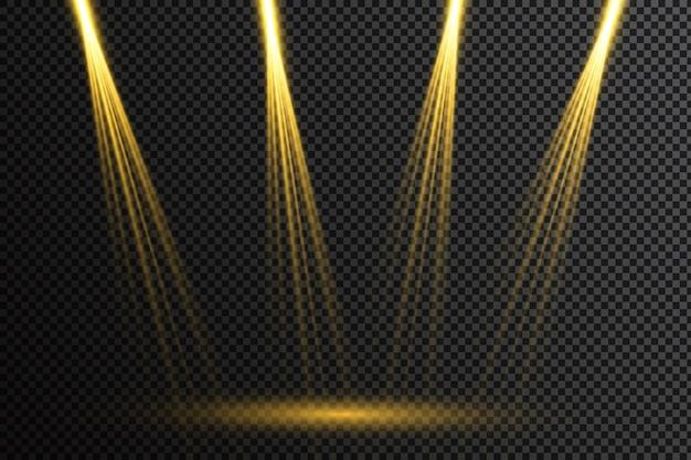 Ensemble de projecteurs lumineux réalistes pour l'éclairage de scène isolé sur fond écossais. collection d'effets de lumière spéciaux.