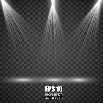 Ensemble de projecteurs lumineux réalistes pour l'éclairage de scène isolé
