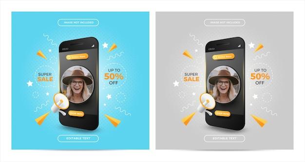 Ensemble de promotion d'achats en ligne de super vente sur la publication de médias sociaux