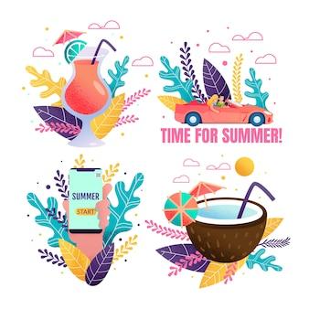 Ensemble de promotion «voyage en voiture vers les tropiques et cocktail»