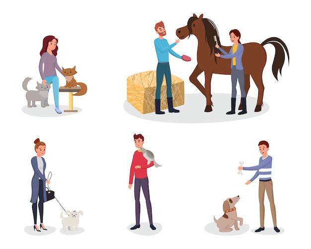 Ensemble de propriétaires d'animaux