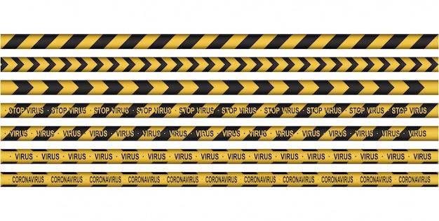 Ensemble de prudence, corona virus 2020, ligne d'attention. ligne noire et jaune rayée. infections virales.