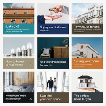 Ensemble de publication de médias sociaux d'entreprise de modèle de publicité immobilière