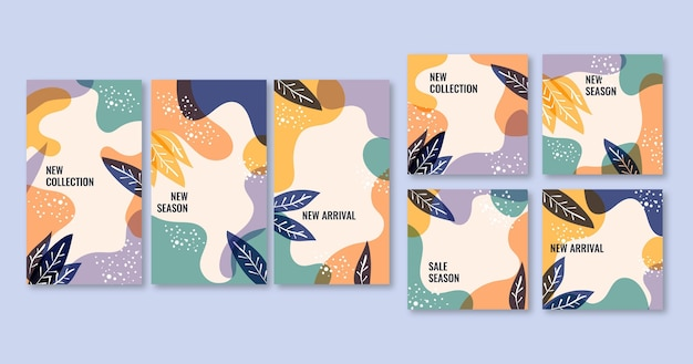 Ensemble de publications et d'histoires instagram avec des ornements floraux