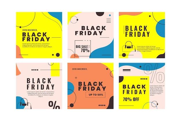 Ensemble de publications instagram du vendredi noir