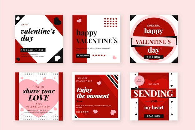 Ensemble de publications instagram pour la saint-valentin
