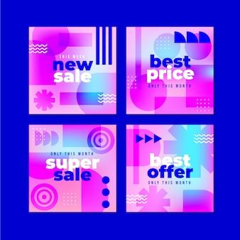 Ensemble de publications instagram de vente dégradée