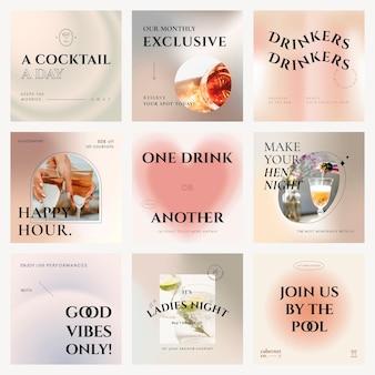 Ensemble de publications sur les médias sociaux pour la campagne de modèles de barres pastel élégantes