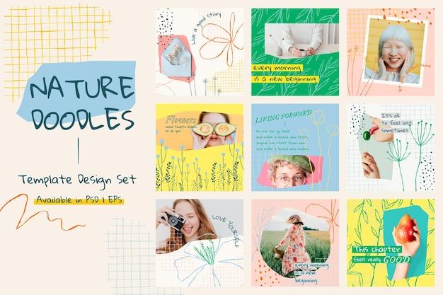 Ensemble de publications sur les médias sociaux vectoriels de modèles modifiables esthétiques floraux