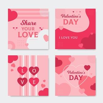 Ensemble de publications sur les réseaux sociaux pour la saint-valentin